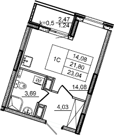 Студия, 23.04 м², от 3 этажа