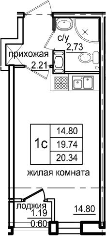 Студия, 20.34 м², 2 этаж