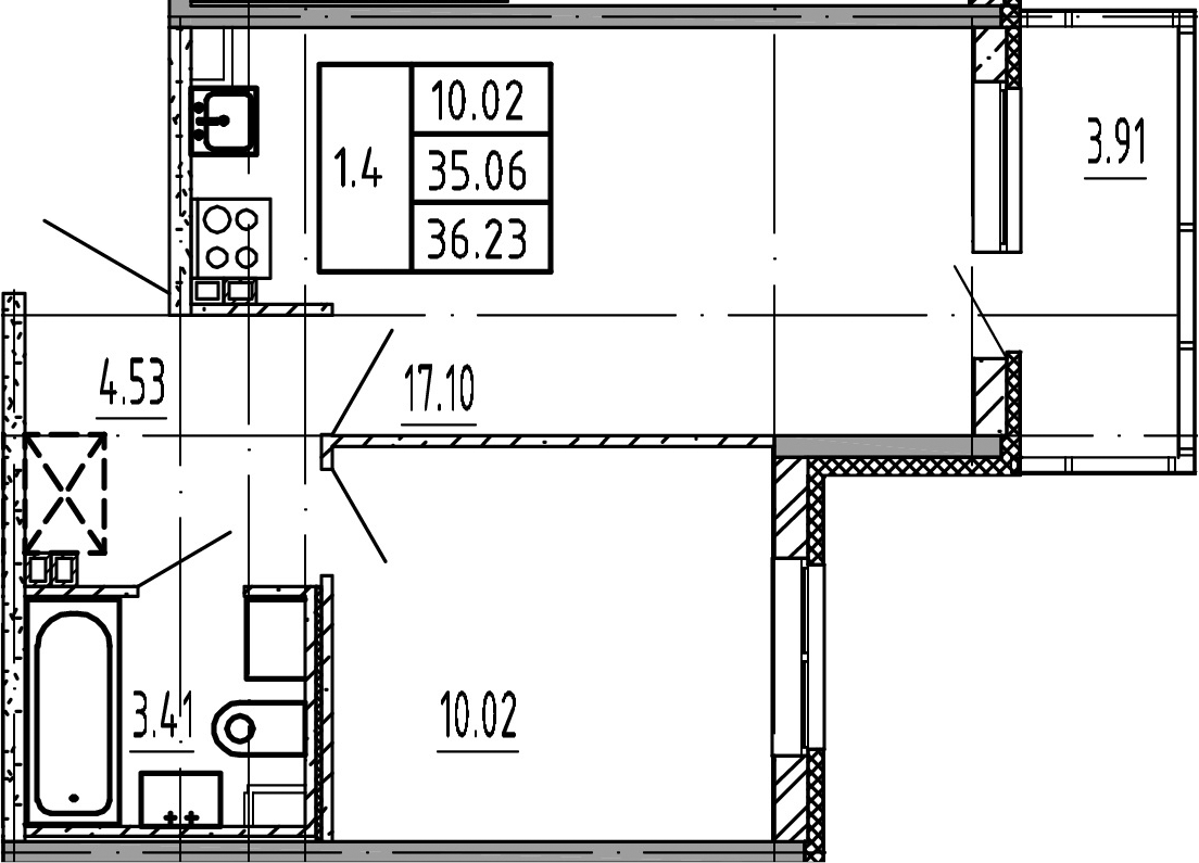 2Е-к.кв, 35.06 м², 3 этаж