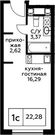 Студия, 22.28 м²– 2