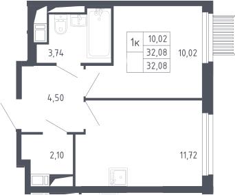 1-к.кв, 32.08 м², 15 этаж