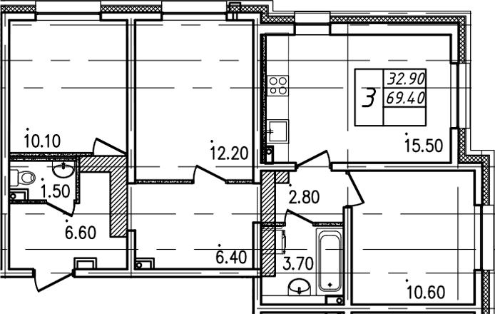 3-к.кв, 69.4 м²