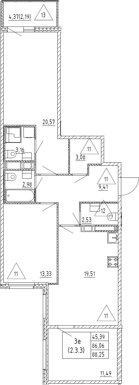 4Е-к.кв, 88.25 м²