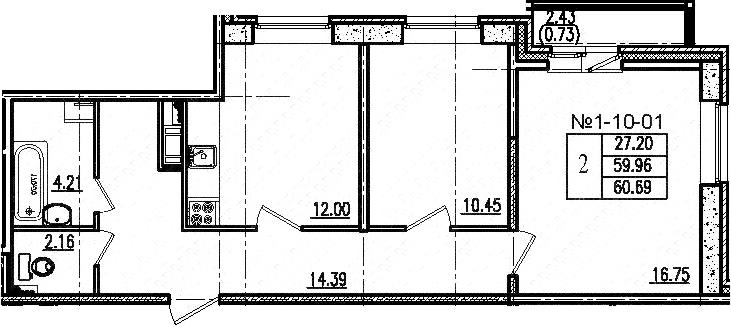 2-к.кв, 60.69 м², 10 этаж