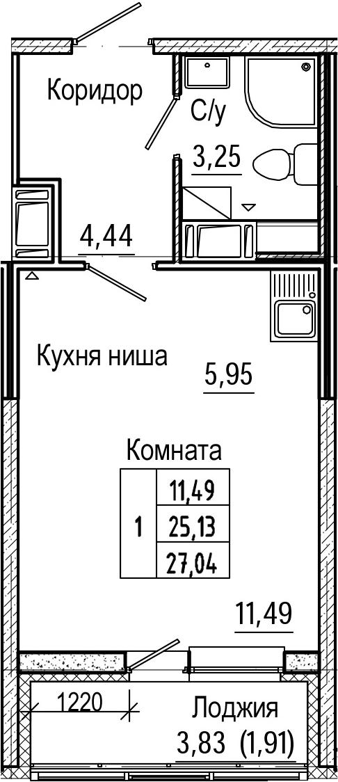 Студия, 27.04 м², 18 этаж