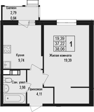 1-к.кв, 38.06 м²