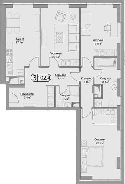 3-комнатная, 102.4 м²– 2
