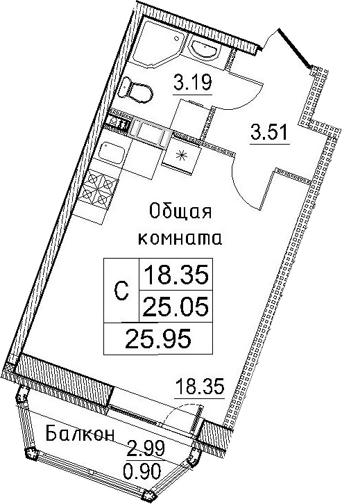 Студия, 28.05 м²