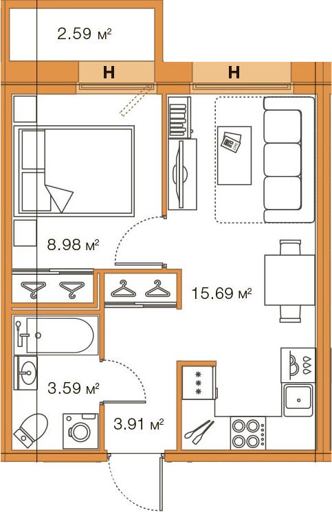 2Е-комнатная, 32.17 м²– 2