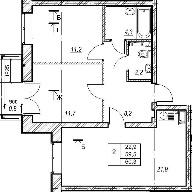 2-к.кв, 60.3 м², от 4 этажа