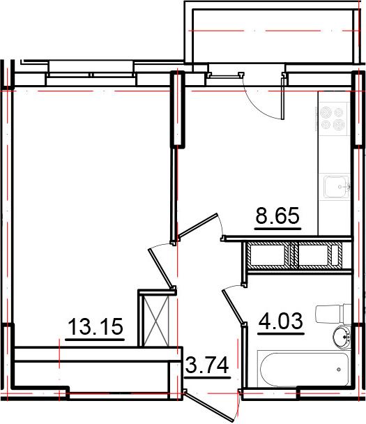 1-к.кв, 30.45 м²