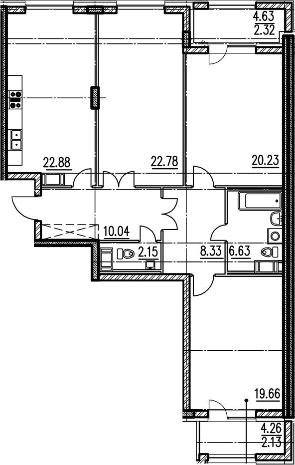 3-комнатная, 112.7 м²– 2