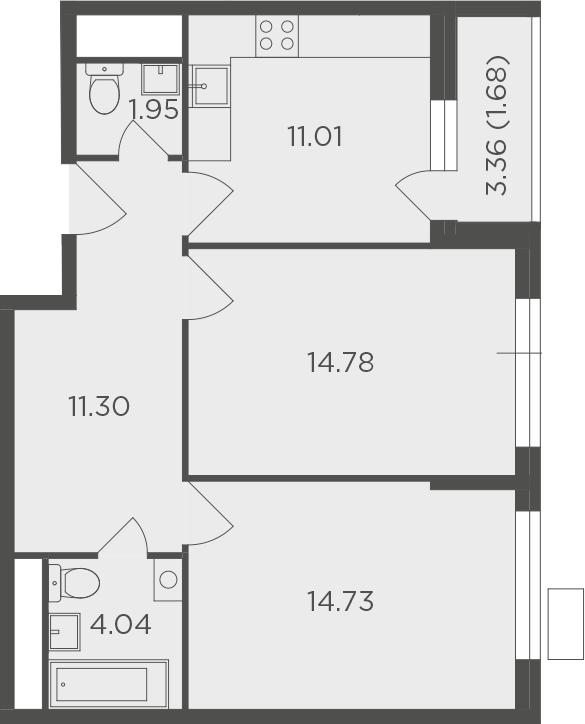 2-к.кв, 59.49 м²