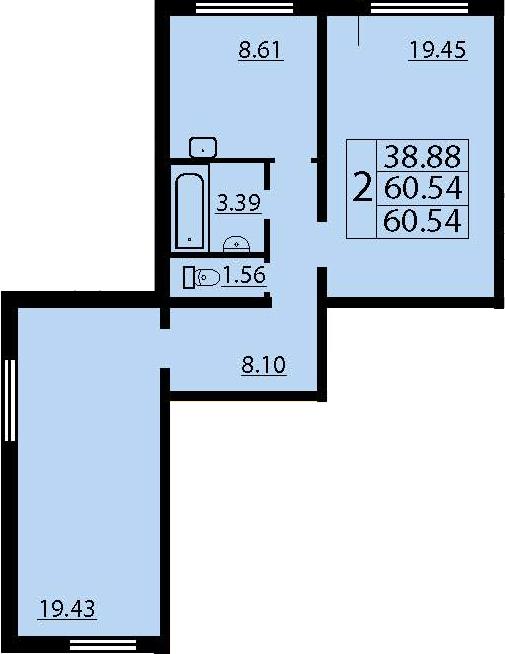 2-комнатная, 60.54 м²– 2