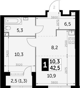 1-к.кв, 42.5 м², 20 этаж