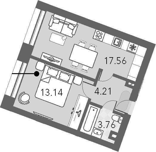 2-к.кв (евро), 38.67 м²