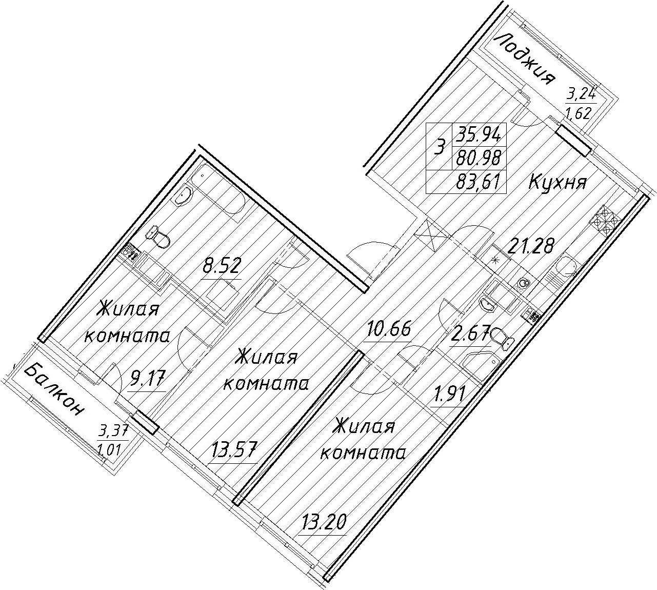 4Е-к.кв, 83.61 м², 12 этаж