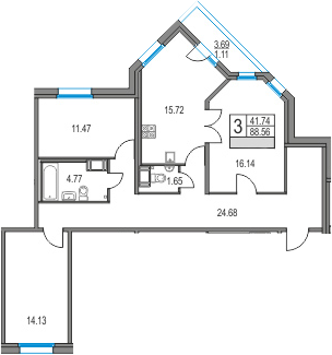 4Е-к.кв, 88.56 м², от 6 этажа