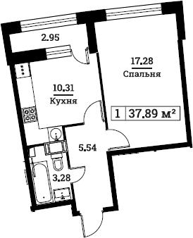 1-комнатная, 37.89 м²– 2