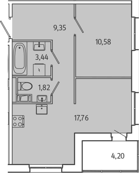 2Е-комнатная, 45.05 м²– 2
