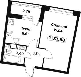 1-комнатная, 33.88 м²– 2