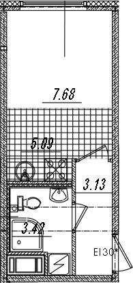 Студия, 19.32 м²– 2