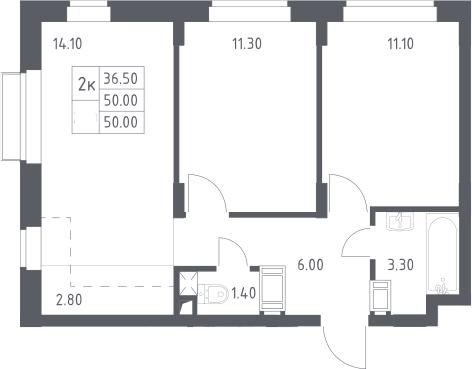 3Е-к.кв, 50 м², 4 этаж