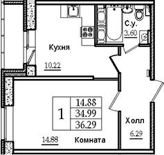 1-к.кв, 35.35 м²