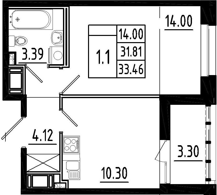 1-комнатная, 31.81 м²– 2