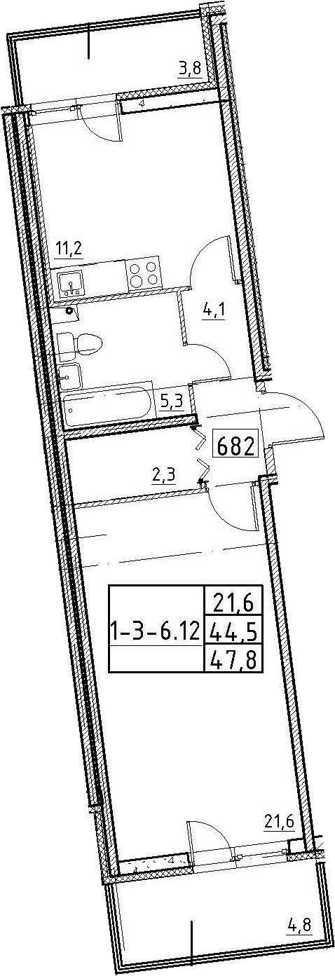 1-комнатная, 47.8 м²– 2