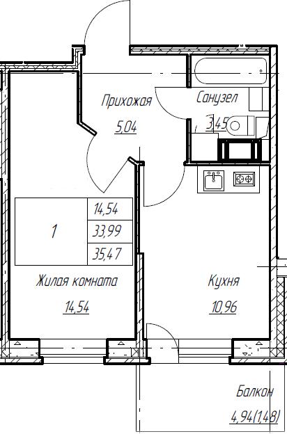 1-к.кв, 35.47 м², от 3 этажа