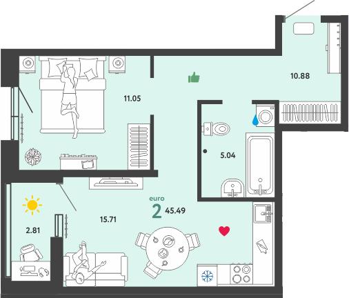 2Е-комнатная, 45.49 м²– 2