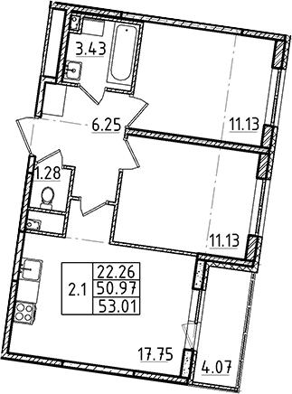 3Е-к.кв, 53.01 м²