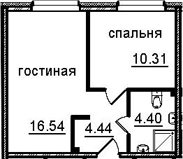 2Е-к.кв, 35.69 м², 3 этаж