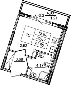 Студия, 21.68 м²– 2