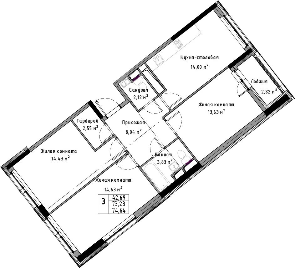 3-к.кв, 74.64 м²
