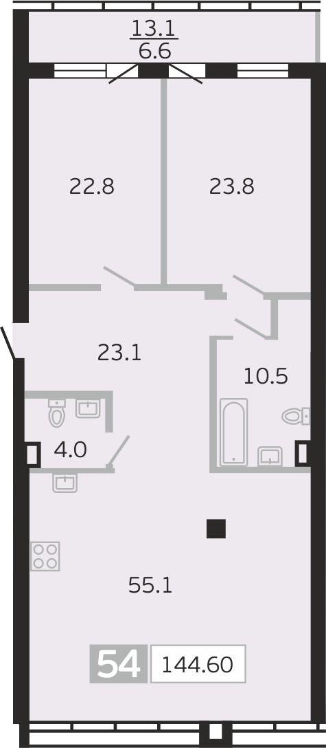 3Е-к.кв, 144.6 м², 8 этаж