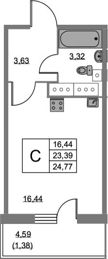 Студия, 24.77 м², 21 этаж
