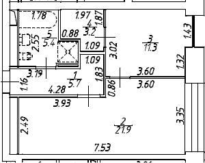 2Е-комнатная, 47.5 м²– 2