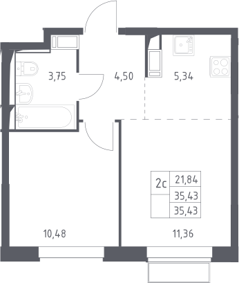 2Е-комнатная квартира, 35.43 м², 9 этаж – Планировка