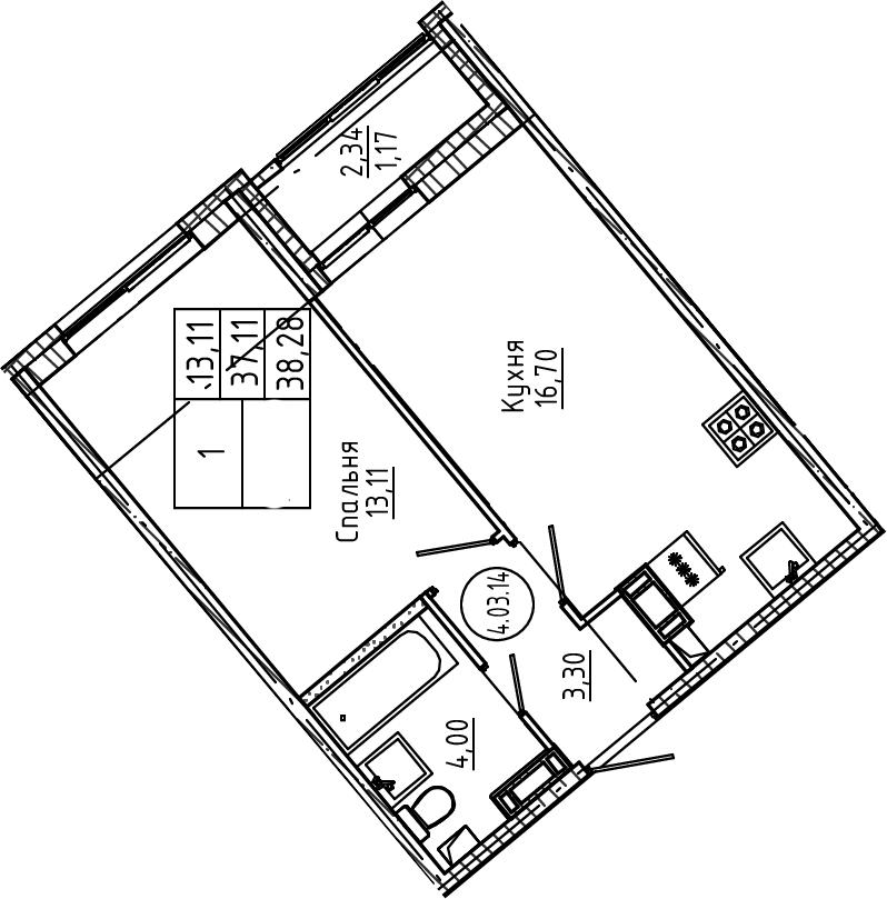 2Е-комнатная, 38.28 м²– 2