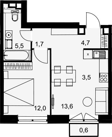 2Е-комнатная, 41.6 м²– 2