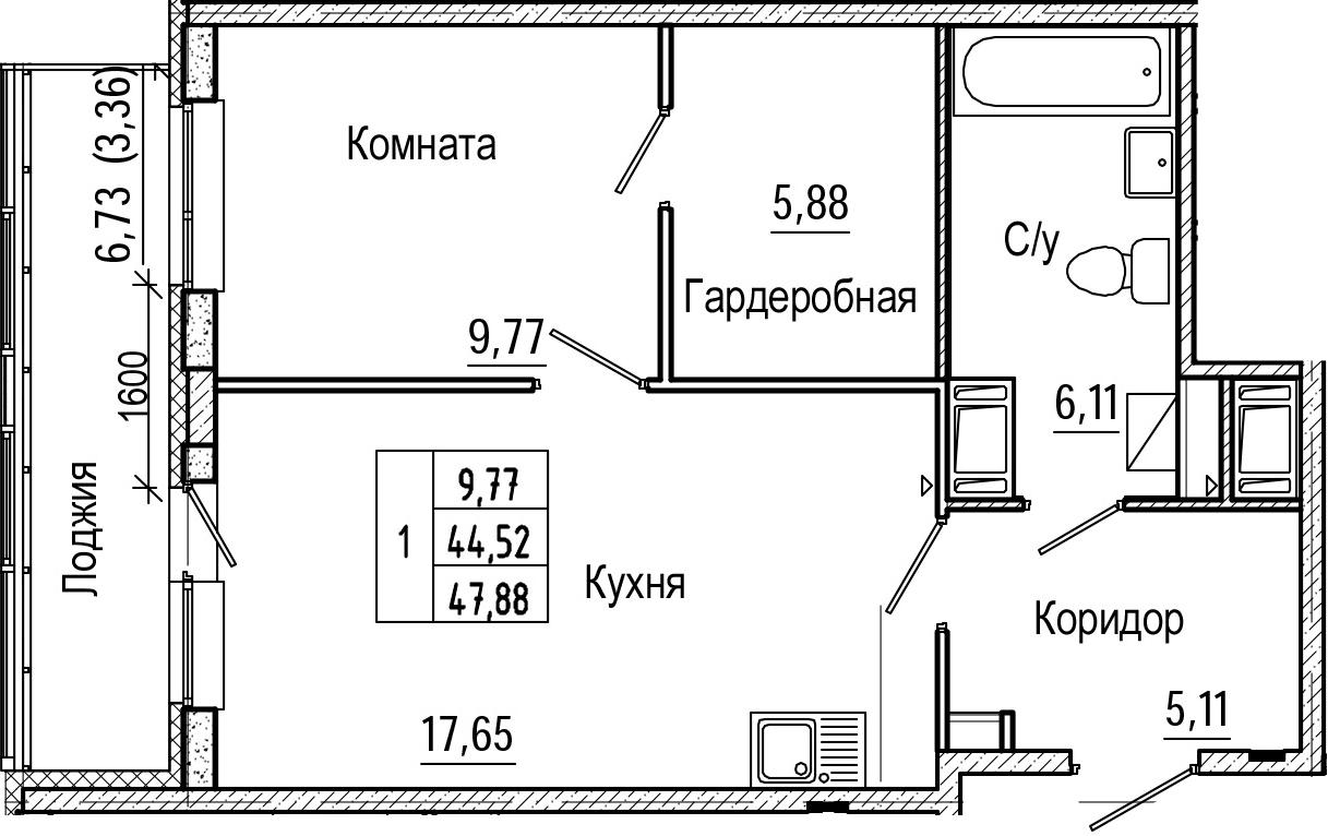 2Е-к.кв, 47.88 м², от 3 этажа