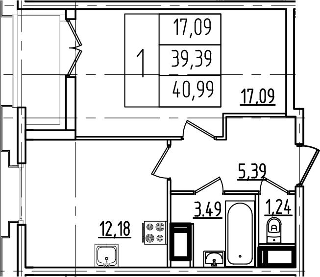 1-к.кв, 40.99 м²