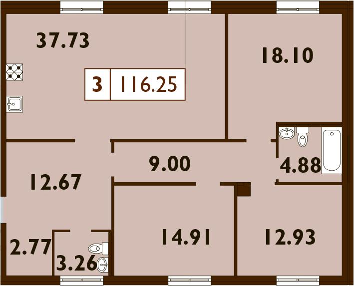 4Е-комнатная, 116.25 м²– 2