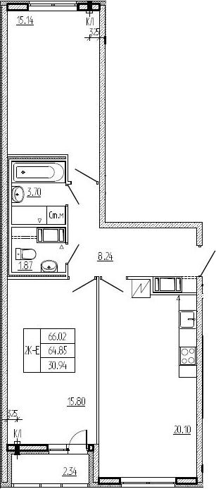 3Е-к.кв, 64.85 м², 2 этаж