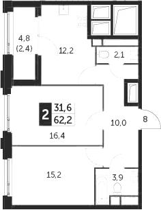 2-к.кв, 62.2 м², 25 этаж