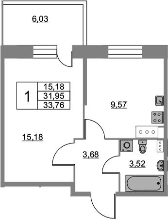 1-к.кв, 33.76 м², от 3 этажа