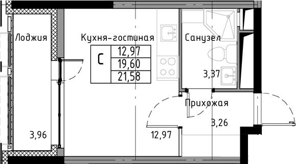 Студия, 21.58 м², 8 этаж