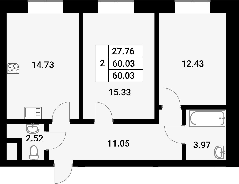 2-к.кв, 60.03 м²